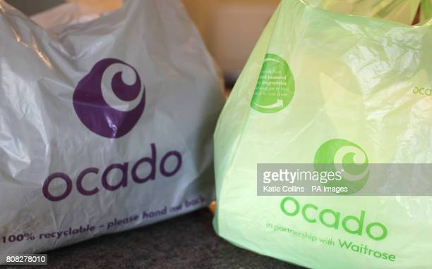 A general view of some bags from the home delivery company Ocado