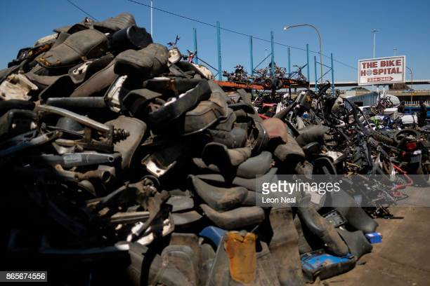 A general view of some of the millions of used engine components at 'The Bike Hospital' on October 18 2017 in Johannesburg South Africa The business...