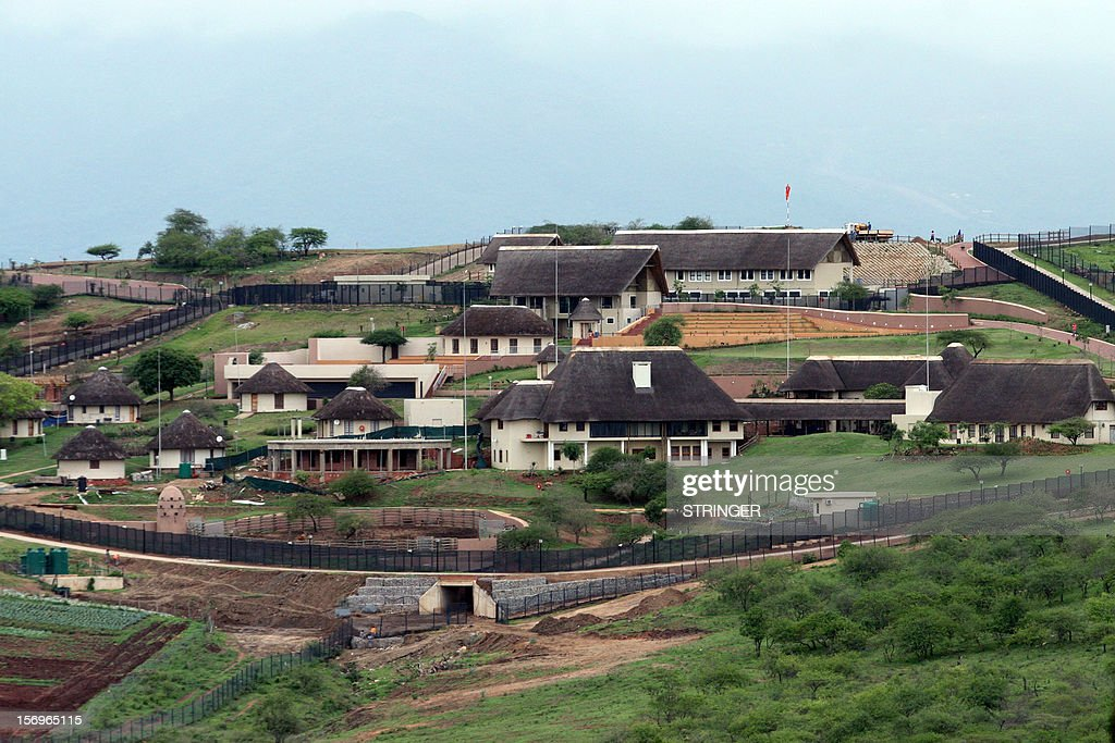 A general view of South Africa President Jacob Zuma's private Nkandla home on October 12 2012 Zuma has been lambasted for the costly and allegedly...