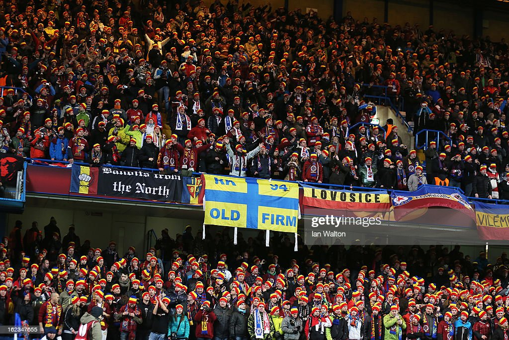 A general view of Sparta fans during the UEFA Europa League Round of 32 second leg match between Chelsea and Sparta Praha at Stamford Bridge on February 21, 2013 in London, England.