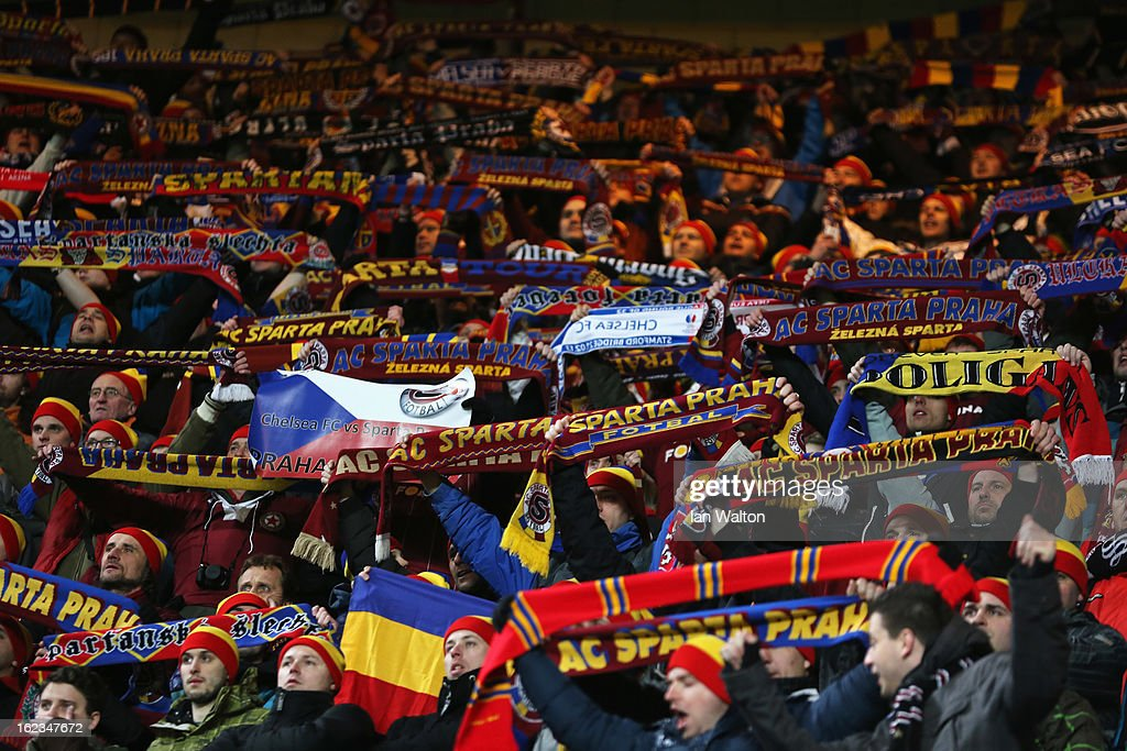 A general view of Sparta fans holding scarves during the UEFA Europa League Round of 32 second leg match between Chelsea and Sparta Praha at Stamford Bridge on February 21, 2013 in London, England.
