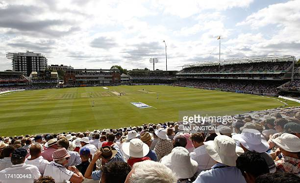 A general view of spectators watching play on the third day of the second Ashes cricket test match between England and Australia at Lord's cricket...