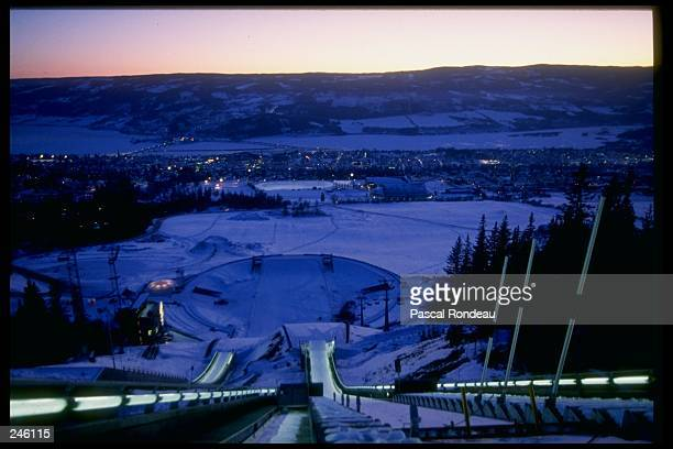 General view of sports venues during the Winter Olympics in Lillehammer Norway