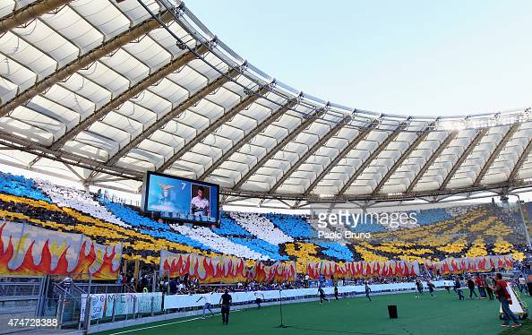 A general view of SS Lazio fans during the Serie A match between SS Lazio and AS Roma at Stadio Olimpico on May 25 2015 in Rome Italy
