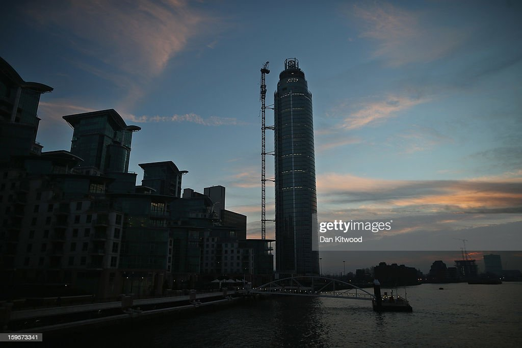 A general view of St Georges Wharf Tower in Vauxhall on January 16 2013 in London England According to reports a helicopter hit the tower's crane...