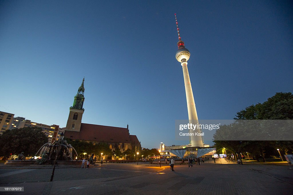 A general view of St. Marienkirche beside the Berlins broadcast tower on September 1, 2012 in Berlin, Germany. The church is part of ongoing exhibitions and events ahead of Berlin's 775th anniversary, which the city will mark with a celebration scheduled for the end of October.