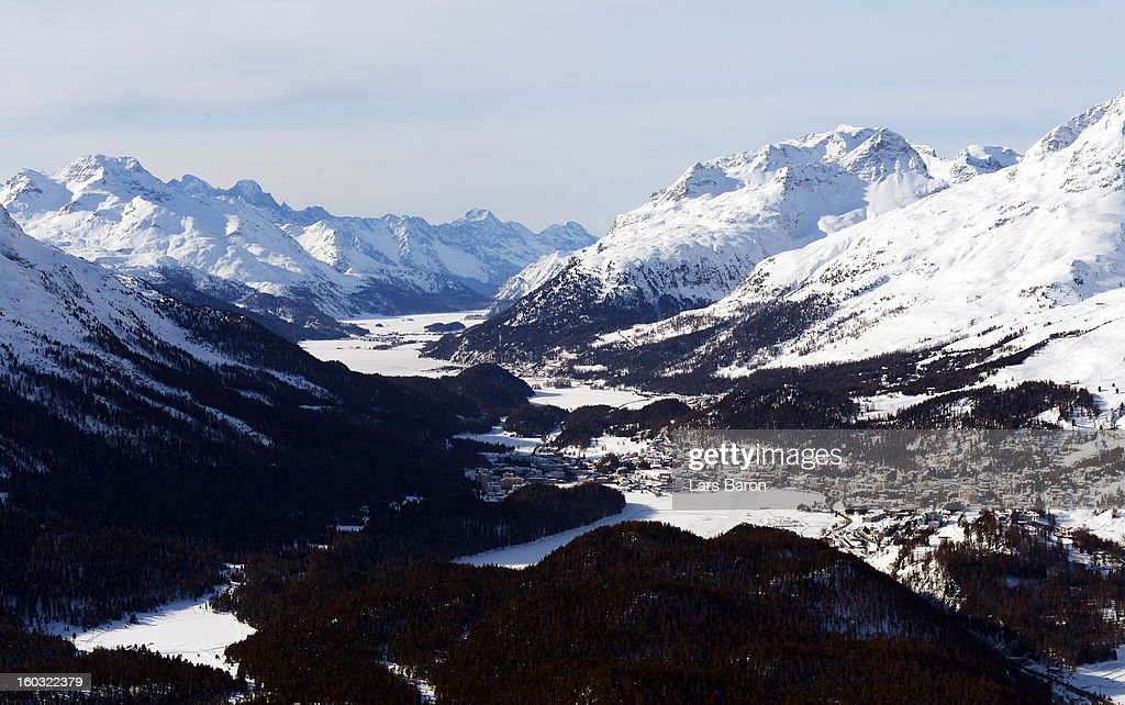 A general view of St Moritz area and the Olympia Bob Run prior to a training session at Olympia Bob Run on January 29, 2013 in St Moritz, Switzerland.