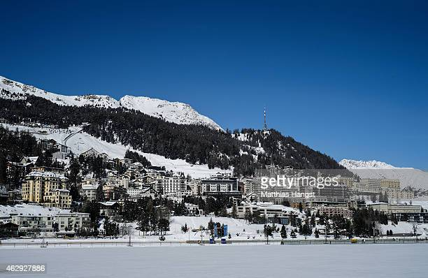 General view of St Moritz with Badrutt's Palace Hotel seen ahead of the White Turf Race on February 7 2015 in St Moritz Switzerland