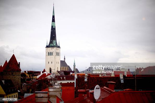 A general view of St Olaf's Church on March 3 2015 in Tallinn Estonia