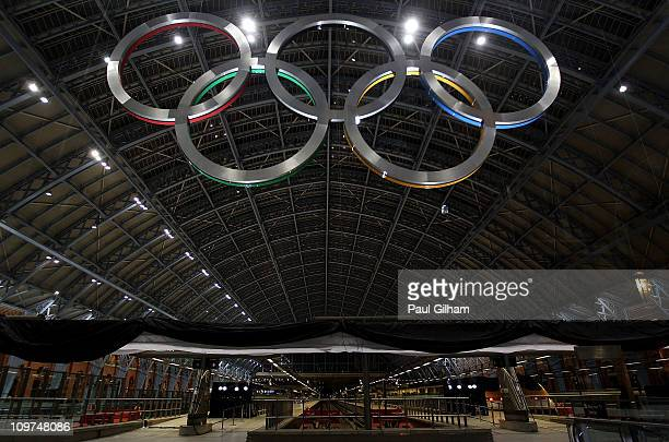 A general view of St Pancras International Station and the Olympic Rings after LOCOG Chairman Seb Coe and the Mayor of London Boris Johnson unveiled...