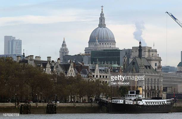 A general view of St Paul's Cathedral seen from a Thames River cruise boat on November 15 2010 in London England Sightseeing tour boats run between...