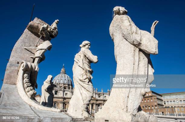 General View of St Peter's Basilica colomnade upper terrace during a canonisation ceremony lead by Pope Francis on October 15 2017 in Vatican City...