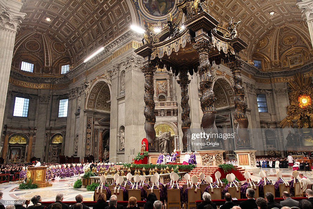 A general view of St. Peter's Basilica during the Ash Wednesday service held by <a gi-track='captionPersonalityLinkClicked' href=/galleries/search?phrase=Pope+Benedict+XVI&family=editorial&specificpeople=201771 ng-click='$event.stopPropagation()'>Pope Benedict XVI</a> on February 13, 2013 in Vatican City, Vatican. Ash Wednesday opens the liturgical 40-day period of Lent, a time of prayer, fasting, penitence and alms giving leading up to Easter.
