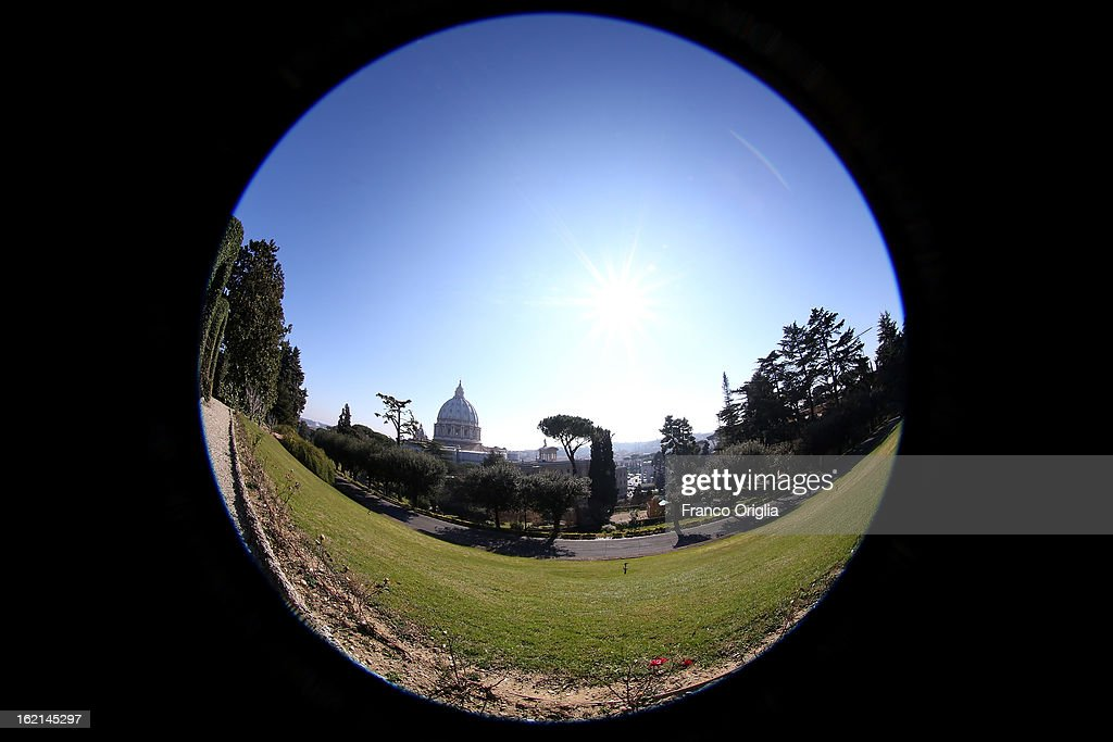 A general view of St. Peter's Basilica from the Vatican Gardens on February 19, 2013 in Vatican City, Vatican. When Pope Benedict XVI steps down, after almost eight years as the 265th Pope, on February 28, 2013 it is reported that he will live in the Vatican Gardens.