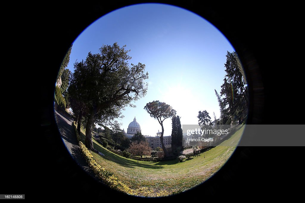 A general view of St. Peter's Basilica is seen from the Vatican Gardens on February 19, 2013 in Vatican City, Vatican. When Pope Benedict XVI steps down, after almost eight years as the 265th Pope, on February 28, 2013 it is reported that he will live in the Vatican Gardens.
