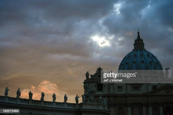 A general view of St Peter's Basilica on March 11 2013 in Vatican City Vatican Cardinals are set to enter the conclave to elect a successor to Pope...