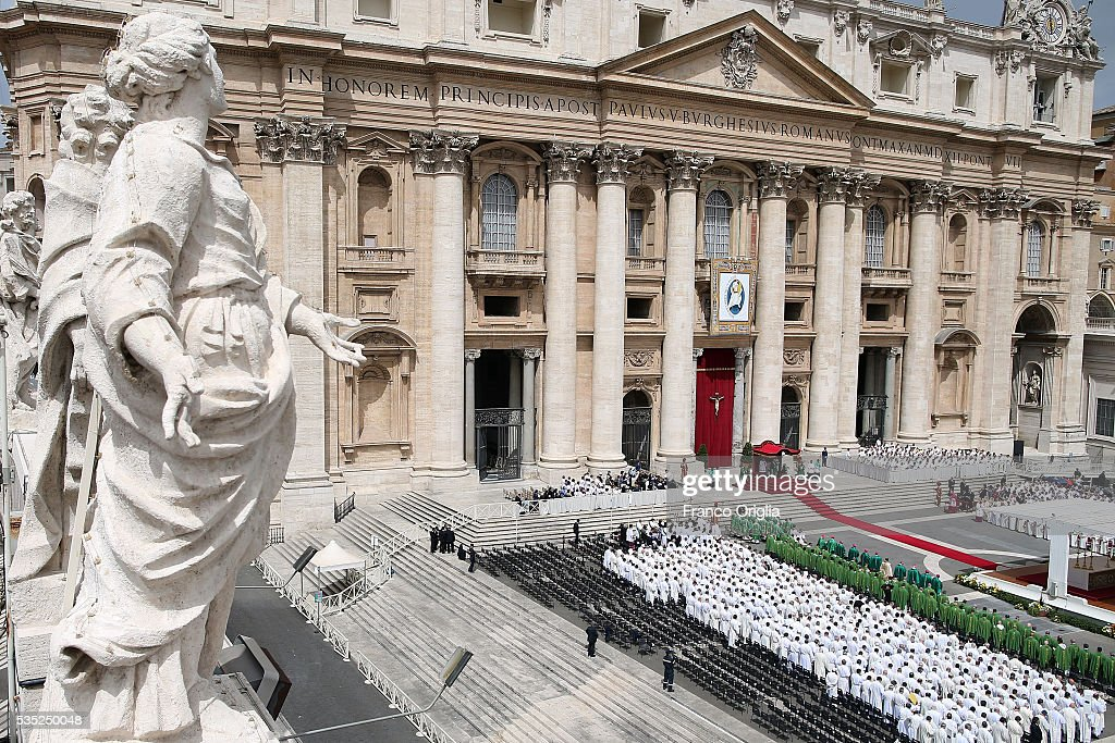 A general view of St. Peter's Square during the Mass for Jubilee of Deacons held by Pope Francis on May 29, 2016 in Vatican City, Vatican. The Church marked the Extraordinary Jubilee Year of Mercy in a special way with the Jubilee of Deacons. As their very title suggests taken as it is from the Greek word for 'servant', diakonos Deacons are ordained to a ministry of service in the Church.