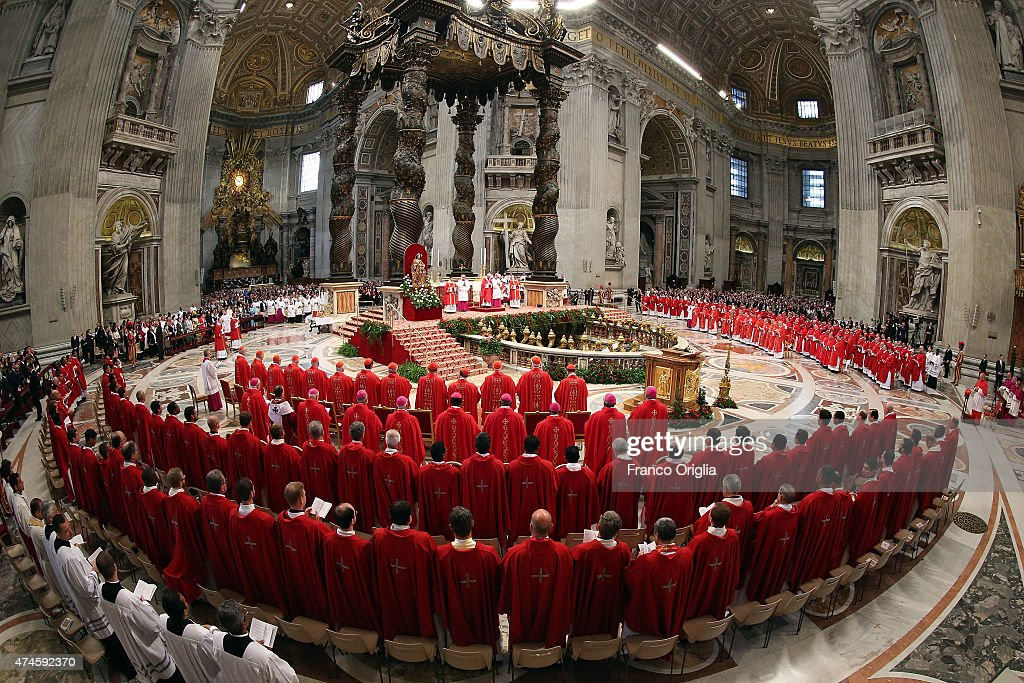 A general view of St. Petr's Basilica during the Pentecost Celebration presided by Pope Francis on May 24, 2015 in Vatican City, Vatican. Pope Francis presided over Mass in St Peter's Basilica this Pentecost Sunday saying that, the world needs men and women who are filled with the Holy Spirit. Pentecost, fifty days after Easter feast commemorates the descent of the Holy Spirit upon the Apostles.