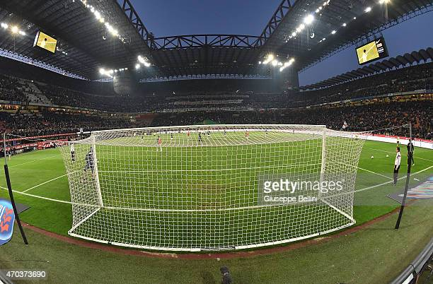 General view of Stadio Giuseppe Meazza before the Serie A match between FC Internazionale Milano and AC Milan at Stadio Giuseppe Meazza on April 19...