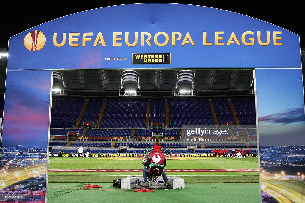 A general view of Stadio Olimpico as the match is played behind closed door and without supporters after disqualification by UEFA during the UEFA Europa League Round of 16 second leg match between S.S. Lazio and VfB Stuttgart at Stadio Olimpico on March 14, 2013 in Rome, Italy.