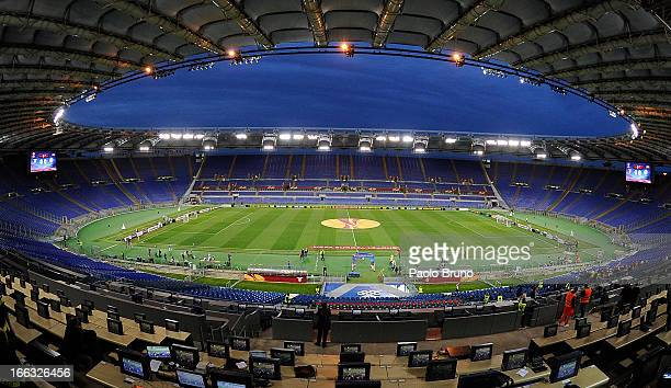 A general view of Stadio Olimpico as the match is played behind closed doors and without supporters after disqualification by UEFA during the UEFA...