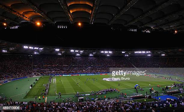 A general view of Stadio Olimpico before the UEFA Champions League Group E match between AS Roma and FC Barcelona at Stadio Olimpico on September 16...