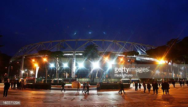 A general view of Stadio Olimpico before the UEFA Europa League Round of 32 first leg match between SS Lazio and VfL Borussia Monchengladba at Stadio...