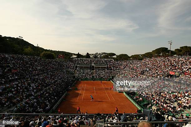 A general view of Stadio Pietrangeli as the crowd watch as Radek Stepanek of the Czech Republic has a straight sets victory against Roger Federer of...