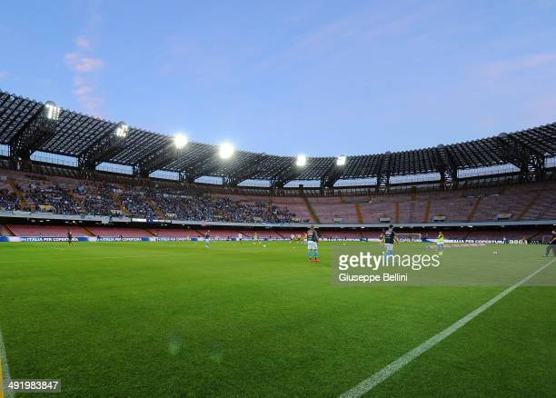 A general view of Stadio San Paolo today only open to children and closed for the fans before the Serie A match between SSC Napoli and Hellas Verona...