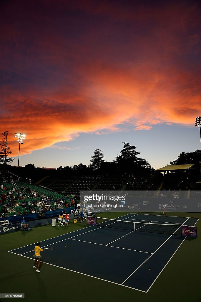 A general view of Stadium Court during the warm up before the match between Sabine Lisicki of Germany and Kimiko Date-Krumm of Japan on day two of the Bank of the West Classic at the Stanford University Taube Family Tennis Stadium on August 4, 2015 in Stanford, California.