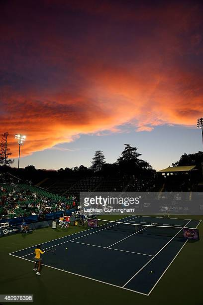 A general view of Stadium Court during the warm up before the match between Sabine Lisicki of Germany and Kimiko DateKrumm of Japan on day two of the...