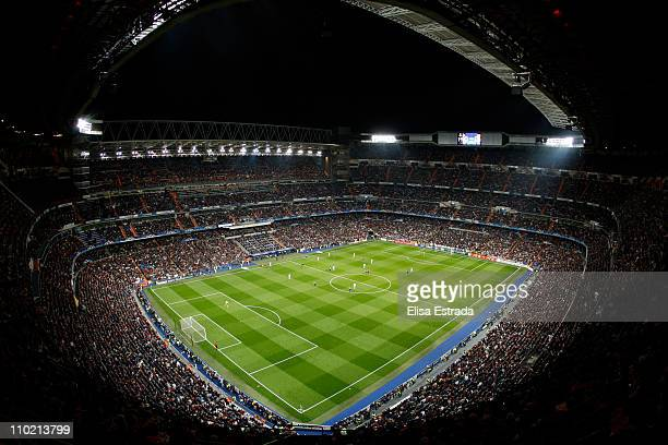 A general view of stadium during the UEFA Champions League round of 16 second leg match between Real Madrid and Lyon at Estadio Santiago Bernabeu on...