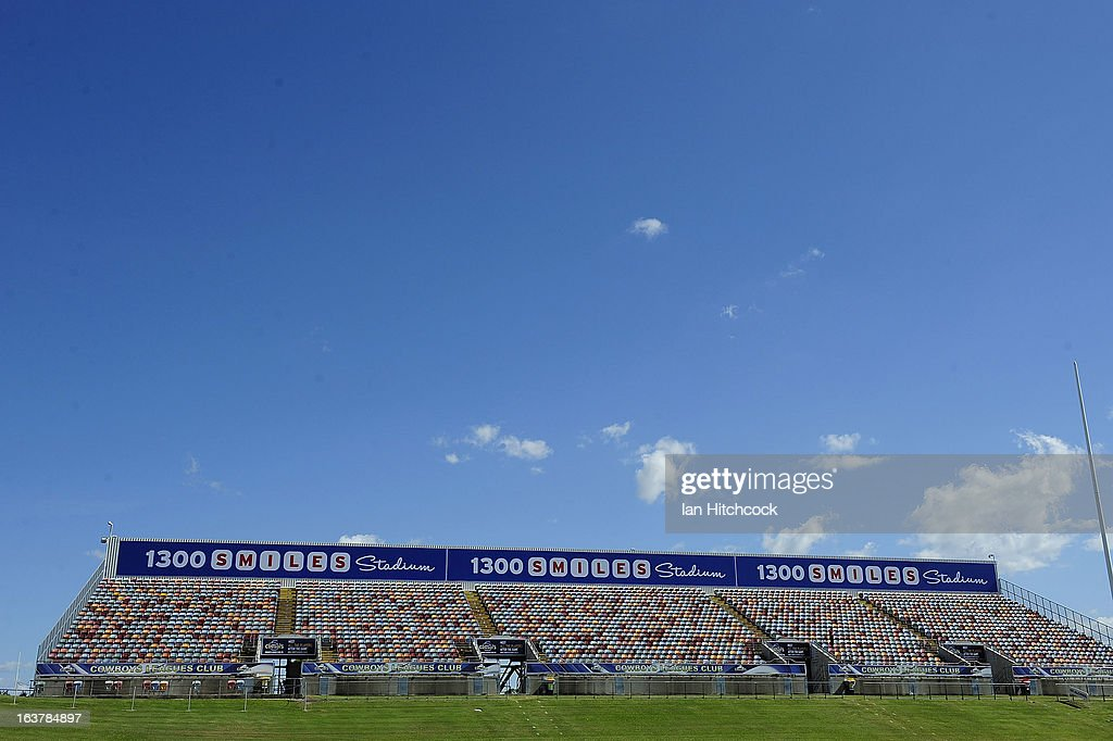A general view of stadium signage before the start of the round two NRL match between the North Queensland Cowboys and the Melbourne Storm at 1300SMILES Stadium on March 16, 2013 in Townsville, Australia.