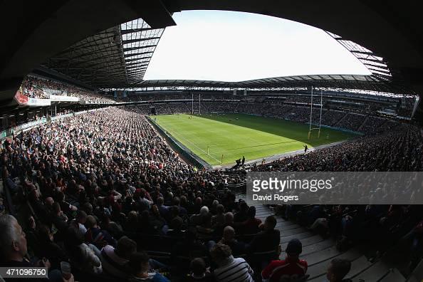 A general view of StadiumMK during the Aviva Premiership match between Northampton Saints and Saracens at StadiumMK on April 25 2015 in Milton Keynes...