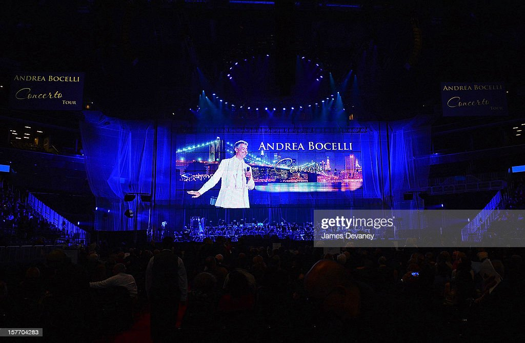 A general view of stage at Andrea Bocelli concert at Barclays Center on December 5, 2012 in the Brooklyn borough of New York City.