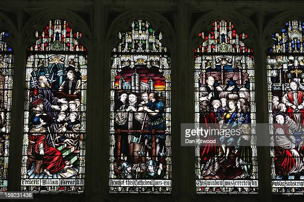 A general view of stained glass windows inside the Chapter House at Canterbury Cathedral ahead of the formal election of Justin Welby as the new...