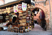 General view of stalls along the markets on September 12 2014 in Marrakech Morocco