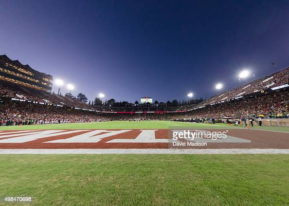 A general view of Stanford Stadium the field and press box during a PAC12 NCAA football game against the University of Oregon Ducks on November 14...