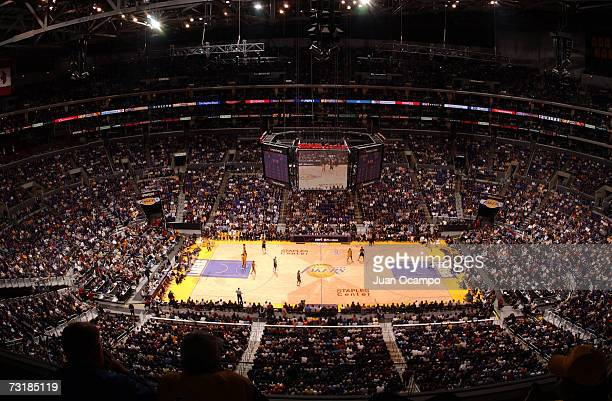 General view of Staples Center during a Los Angeles Lakers game on January 1 2003 in Los Angeles California NOTE TO USER User expressly acknowledges...