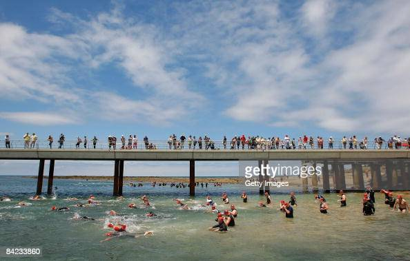 General view of start of the the Lorne Pier To Pub open water swim at Louttit Bay on January 10 2009 in Lorne Australia