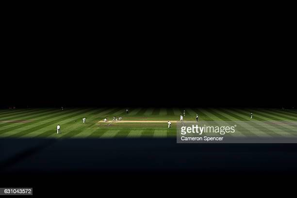 A general view of Steve O'Keefe of Australia bowling during day four of the Third Test match between Australia and Pakistan at Sydney Cricket Ground...