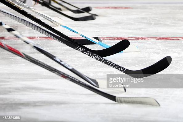 A general view of sticks during the AMP NHL Hardest Shot event of the 2015 Honda NHL AllStar Skills Competition at Nationwide Arena on January 24...