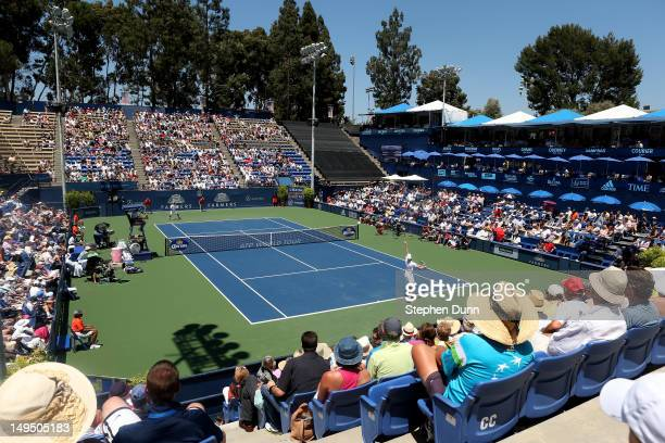 A general view of Strauss Stadium as Sam Querrey serves to Ricardas Berankis of Lithuana during the finals of the Farmers Classic Presented By...