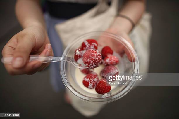 A general view of Strawberries and cream on day four of the Wimbledon Lawn Tennis Championships at the All England Lawn Tennis and Croquet Club on...