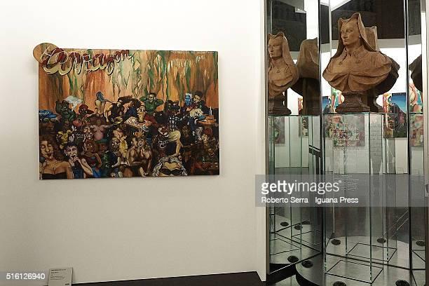 A general view of ' Street Art Bansky Co L'Arte allo Stato Urbano ' Exhibition Presentation at Palazzo Pepoli Vecchio on March 17 2016 in Bologna...