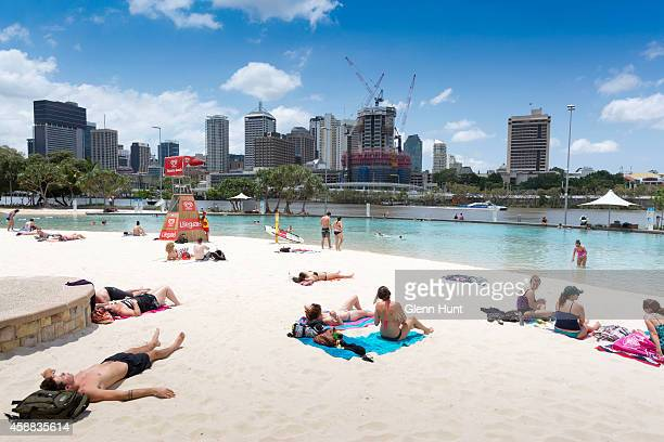 A general view of Streets Beach at South Bank is seen ahead of the G20 Leaders Summit on November 12 2014 in Brisbane Australia World economic...