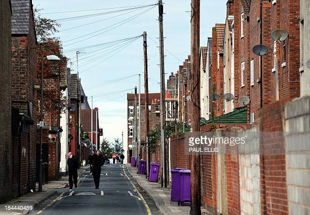 A general view of streets that are due to be fixed for the redevelopment Anfield Liverpool FC' s stadium in Liverpool northwest England on October 20...