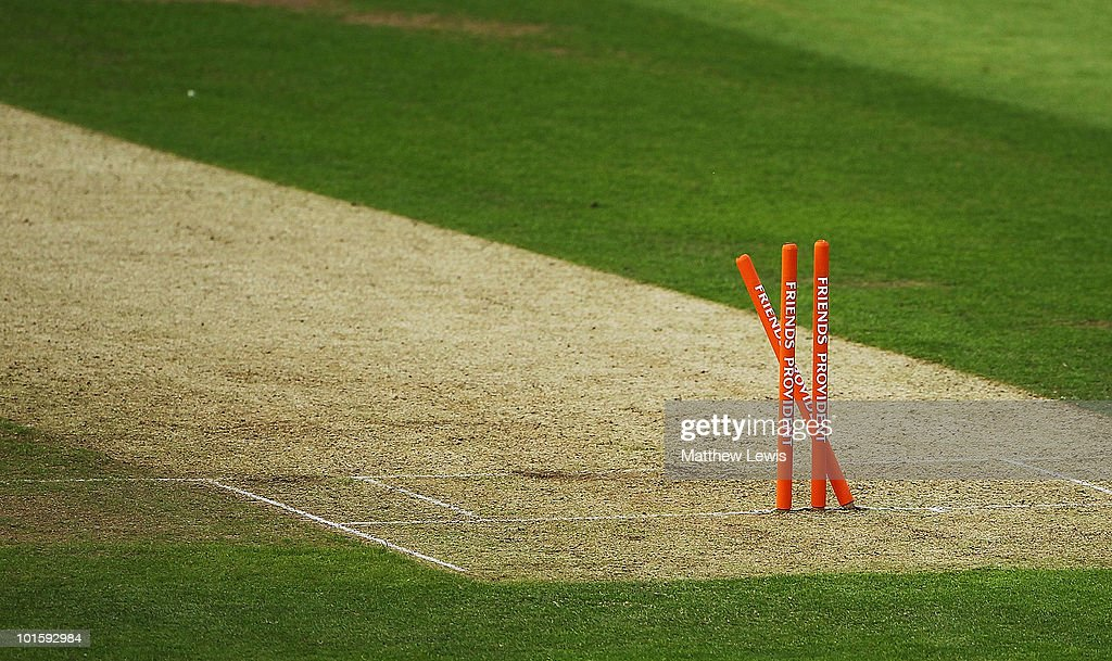 A general view of stumps during the Friends Provident T20 match between Yorkshire and Derbyshire at Headingley Carnegie Stadium on June 3 2010 in...