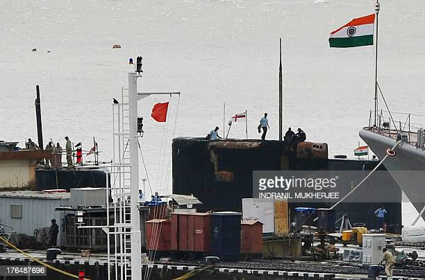 A general view of submarines moored in the Naval Dockyard in Mumbai on August 14 2013 A dieselpowered Indian submarine exploded and sank in a dock in...