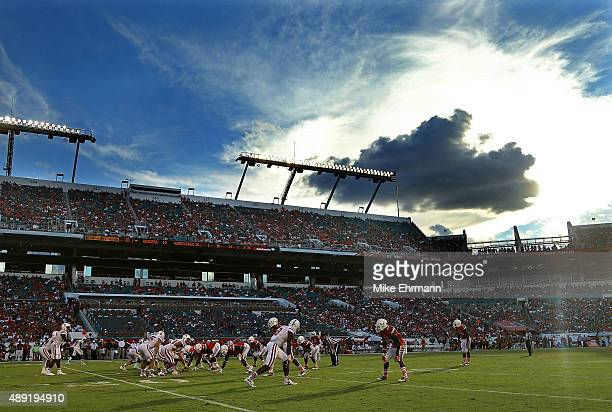 A general view of Sun Life Stadium during a game between the Miami Hurricanes and the Nebraska Cornhuskers on September 19 2015 in Miami Gardens...